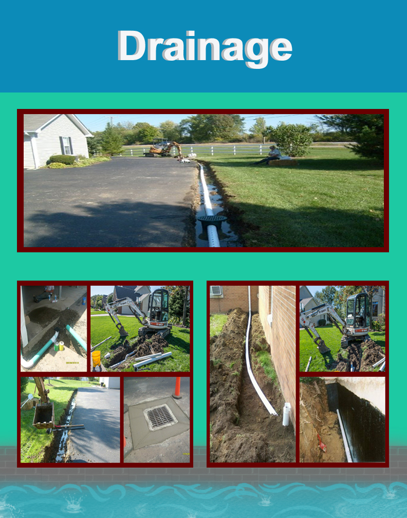 Jake's Property Services drainage system team is well trained and skilled to repair and existing drain tile or pipe. Jake's drainage installations ranges from complete new drainage system for homes or fields, overflow drain pipes for your pond and catch basins retention pond drainage structures.