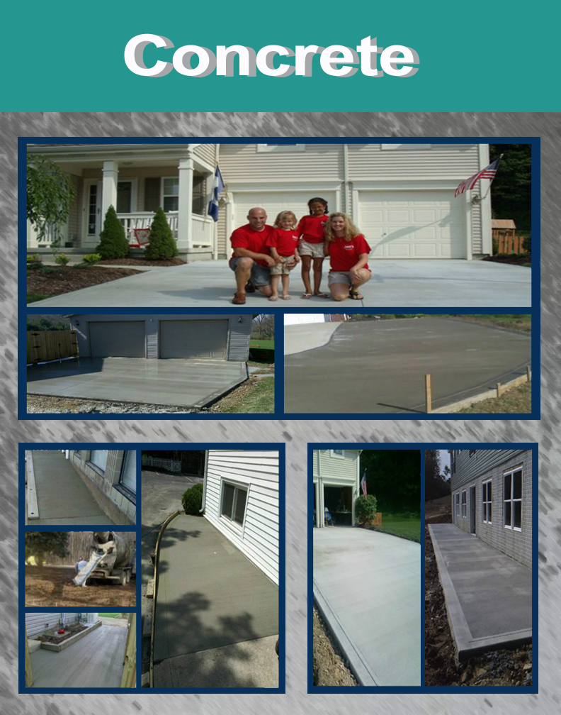 concrete - Concrete crew installs concrete sidewalks, driveways, floors and footers.