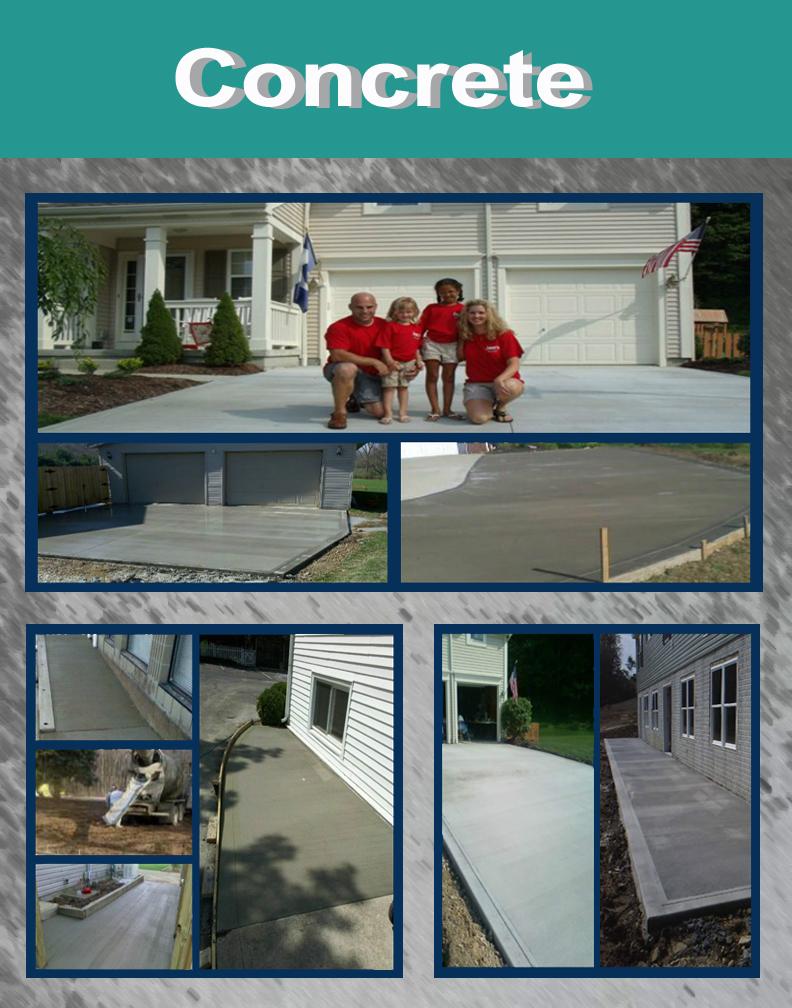 concrete - Concrete crew installs concrete sidewalks, driveways, floors and footers.