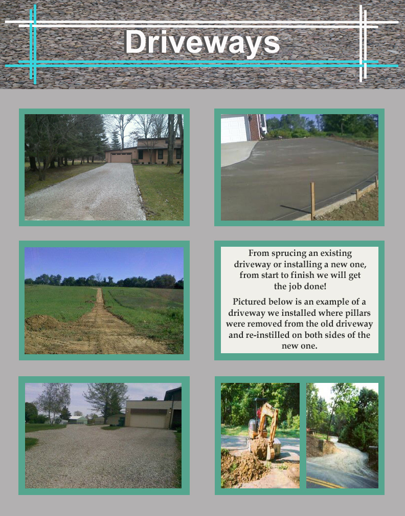 Jake's Property Services driveway crews are quick, timely and efficient! Jake's installs new driveways from start to finish. We can repair existing driveways, grade correctly and install a new top layer of limestone or gravel. We deliver the exact amount of limestone or gravel to fit your budget. Jake's crews can patch pot holes in gravel driveway. We can install asphalt or concrete driveways as well.