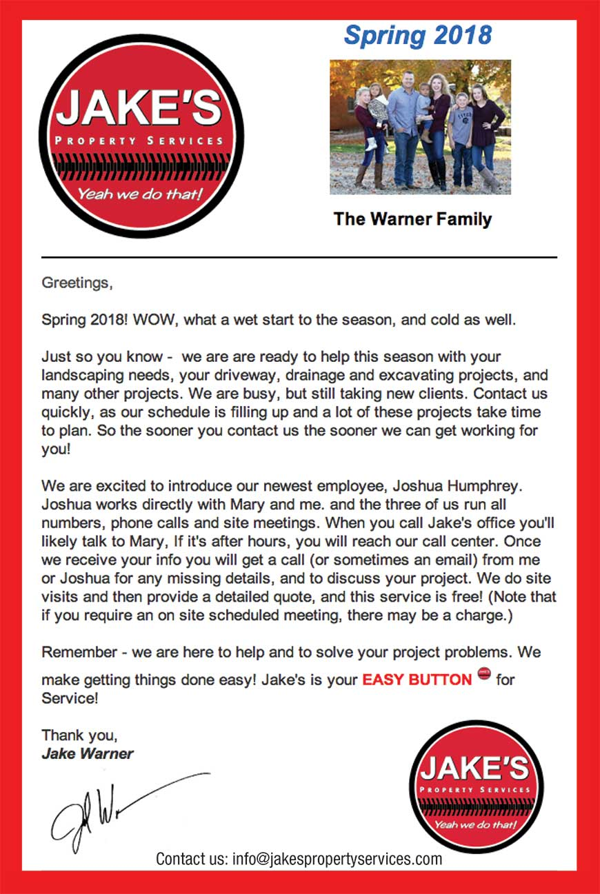 Jake S Property Services April Newsletter