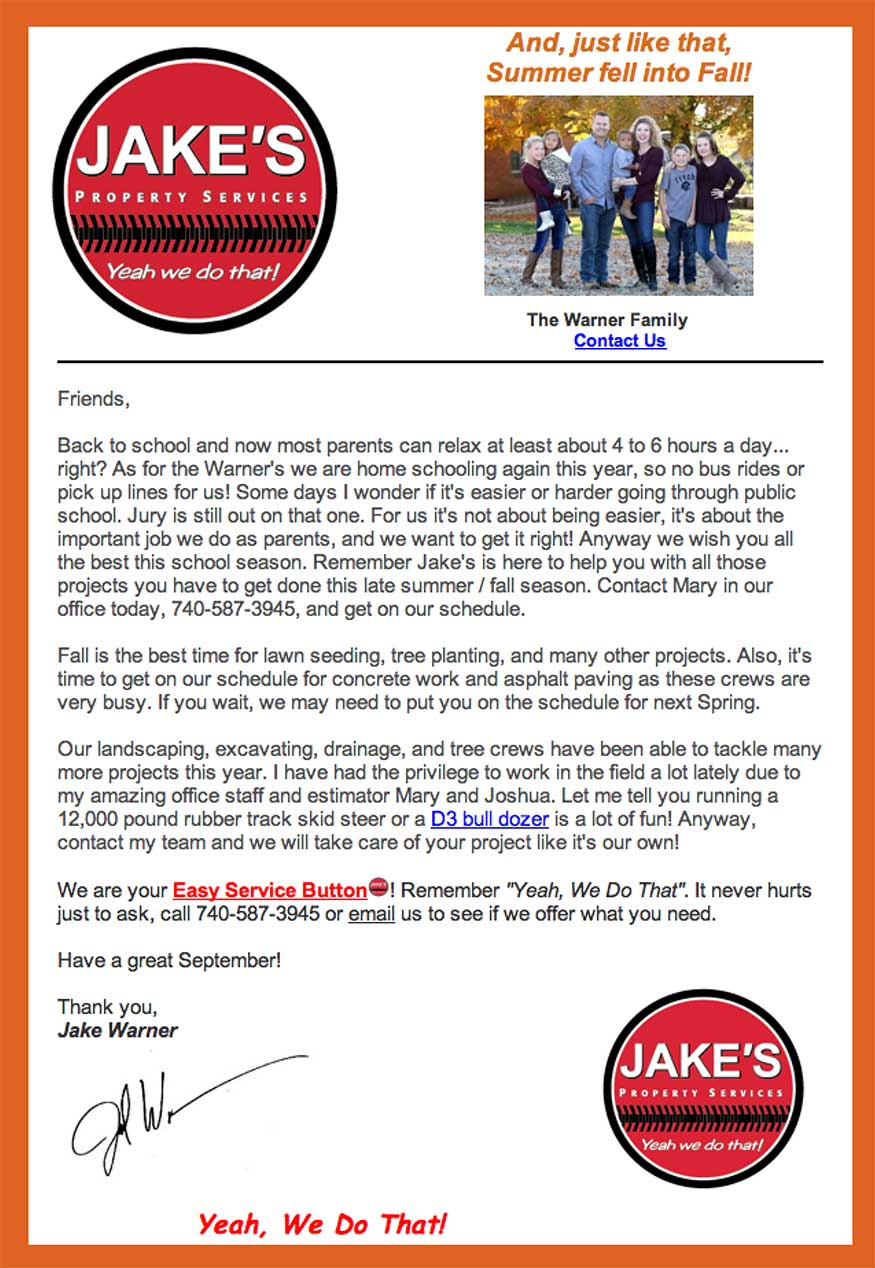 Jake S Property Services Newsletter For August Is Here Read News And Updates Form Your Landscaping Excavating Company